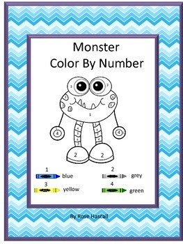 Color by Number Math, Color by Number Monster, Special Education Math