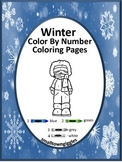 Winter Color by Number, Winter Math Centers, Special Education Math,