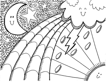 Coloring sheet set: arrows, direction words, sky - inspires writing