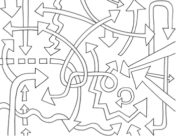 Coloring sheet set: arrows, direction words, sky - inspire