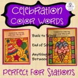 Coloring with Color Words-Celebrations-First Day of School