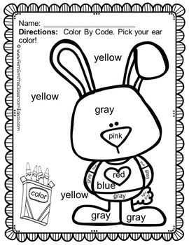 Color By Code St Valentine's Day Know Your Colors