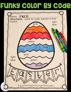 Color By Code Funky Easter Eggs Colors