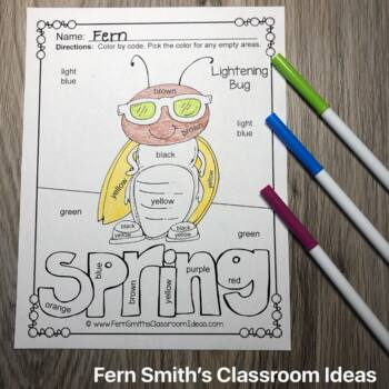 Color By Code Spring Bug Fun Know Your Colors