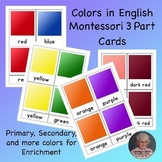 Colors Montessori 3 part cards in English