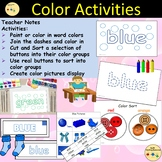 Color Activities/Tasks and  Sorting into Color Groups, Cut/Paste