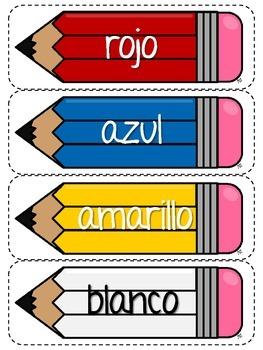 Colors - Bilingual Flashcards - Pencils
