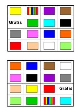 Colors Bingo Board Class Set of 30