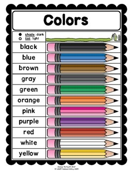 Colors Chart: English