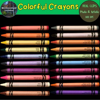 Colors Clip Art Colorful Crayons Set Photo & Artistic Digital Stickers 40 images