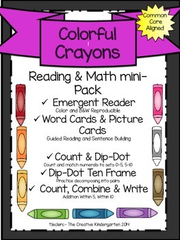 Colors & Crayons Theme: Emergent Reader & Math mini-Pack {