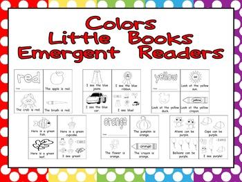 Color Words Emergent Reader Little Books Preschool or Kindergarten