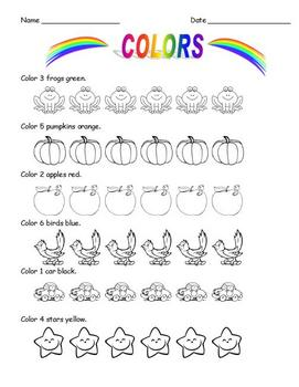 Colors Emergent Readers and Worksheets