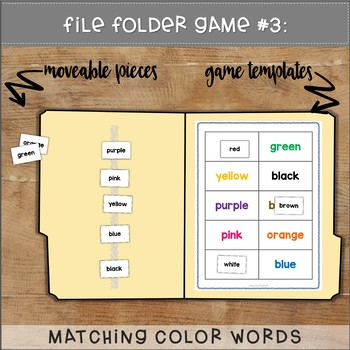 Colors File Folder Games : Winter Mittens
