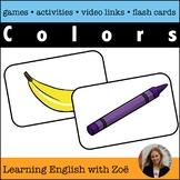 Colors Flash Cards, Activities, and Games for ELL and ESL