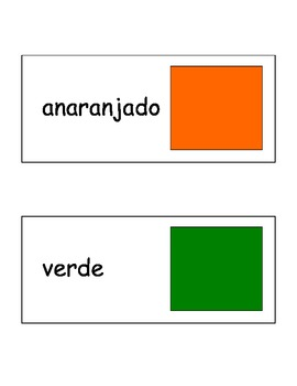 Colors Flash Cards in Spanish