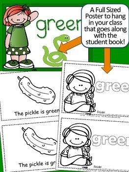Colors {GREEN} Emergent Reader & Class Poster FREEBIE