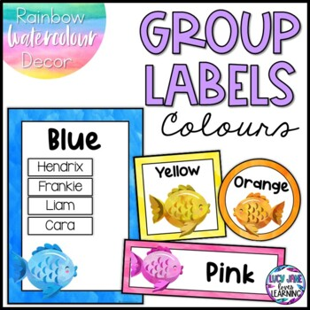 Colors Group Labels - Rainbow Watercolor Decor