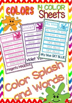 Colors Handwriting Sheets (13 colors in color and b&w)