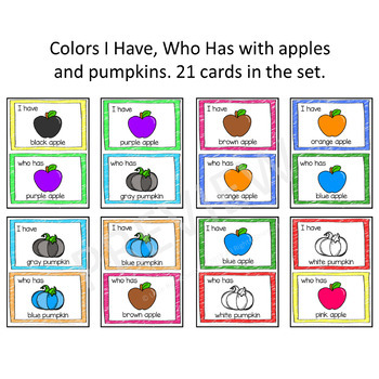 Colors I Have Who Has Game and Loop Cards - Apples & Pumpkins Theme