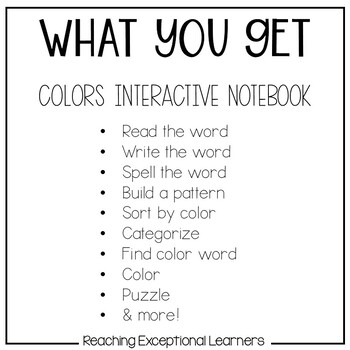 Colors Interactive Notebook designed for Special Education