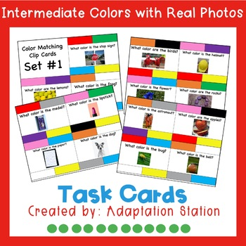 Colors Intermediate Task Cards with Real Photo
