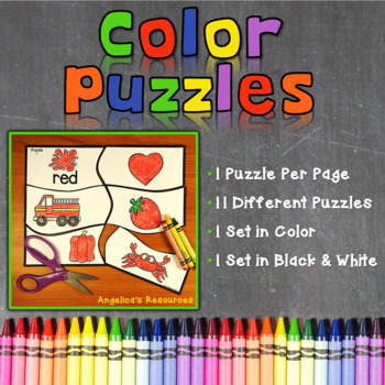 Colors : Learning Colors - Puzzles - Literacy Center Activity - Easy Cut