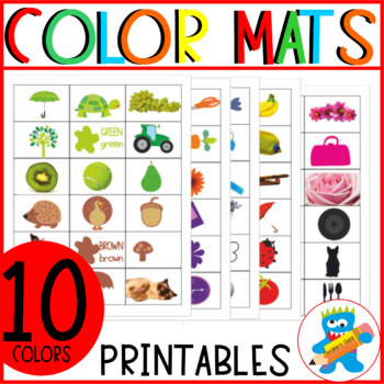 Colors Bingo game. Seek & Find game. 10 different colors. Sorting activity.