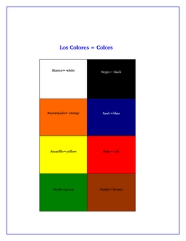 Spanish Colors Los Colores Game Board