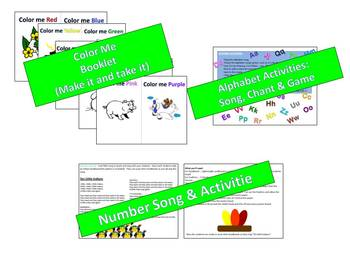 Colors, Numbers & A B C's Task Cards + many fun activities included