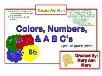 Colors, Numbers & A B C's Task Cards + many fun activities