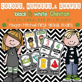 Colors, Numbers, & Shapes Posters: Black & White Chevron