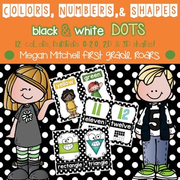 Colors, Numbers, & Shapes Posters: Black & White Polka Dots