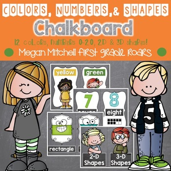 Colors, Numbers, & Shapes Posters: Chalkboard
