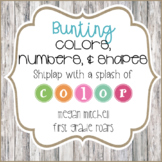 Colors, Numbers, & Shapes in a Bright Bunting Theme with Shiplap