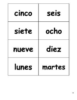 Colors, Numbers and Days of the Week Word cards (Spanish)