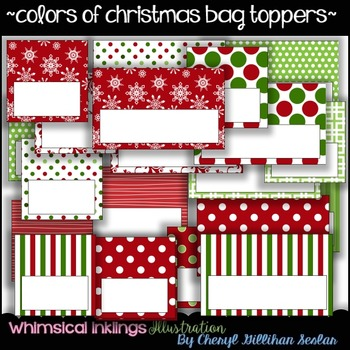 Colors Of Christmas Bag Topper Collection~COMMERCIAL USE~
