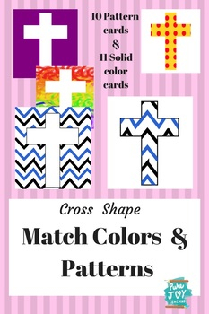 Colors & Pattern Match cards, Cross Shapes Easter Christian