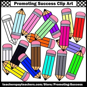Colors Pencil Clipart Back to School Supplies Clip Art for Commercial Use SPS