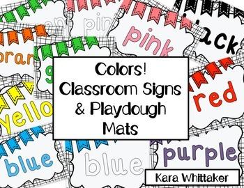 Colors Classroom Signs & Playdough Mats