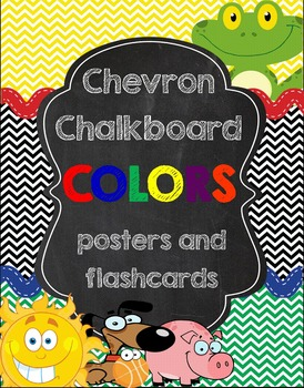Colors Posters and Flashcards *chevron and chalkboard*