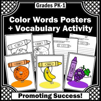 Colors Posters For Kindergarten Color Words Worksheets Fruit Theme Sps