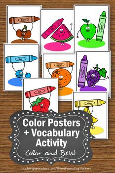 Colors Posters for Kindergarten, Color Words Worksheets, Fruit Theme SPS