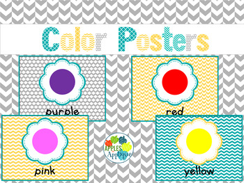 Colors Posters in Yellow Teal and Gray