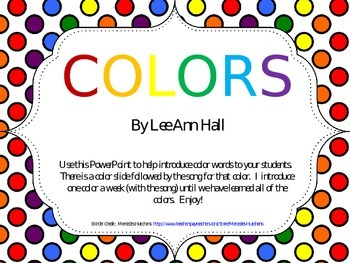 Colors PowerPoint - Introduction and Songs