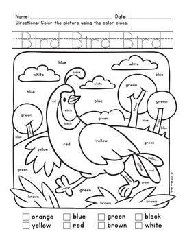 Colors Practice: Sight Words Practice with Color-by-Word Animals (Bird)