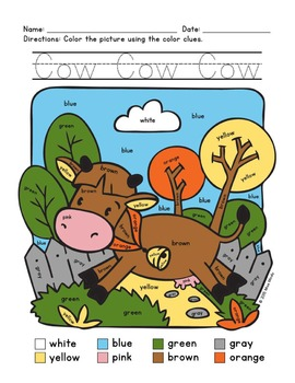 Colors Practice: Sight Words Practice with Color-by-Word Farm Animals (Cow)