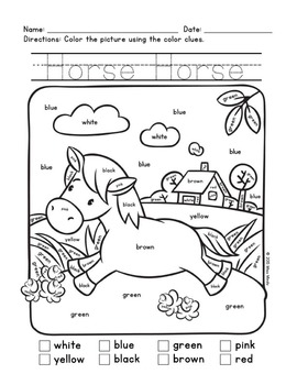 Colors Practice: Sight Words Practice with Color-by-Word Farm Animals (Horse)