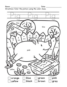 Colors Practice: Sight Words Practice with Color-by-Word Farm Animals (Pig)