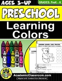 Colors: Preschool Early Learning Activities 10 colors {NO PREP Worksheets}